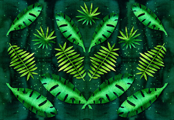 Pattern of leaves of tropical plants. Watercolor texture. Emerald green. Glowing lights.