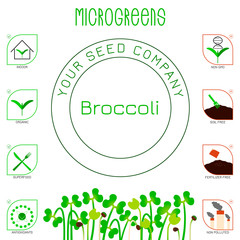 Microgreens Broccoli. Seed packaging design, text, icons
