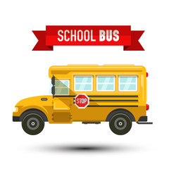 Yellow School Bus Vector IconIsolated on White Background. Car Symbol with Stop Sign.