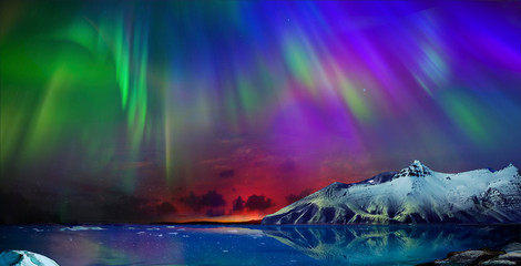 Aluminium Prints Northern lights incredible northern lights