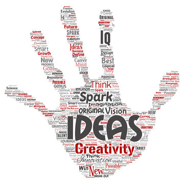 Vector conceptual creative idea brainstorming human hand print stamp word cloud isolated background. Collage of spark creativity original, innovation vision, think, achievement or smart genius concept