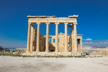 Athens, Greece - March 14, 2017: The Old Temple of Athena on the Acropolis of Athens, Greece.