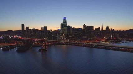 Fototapete - San Francisco aerial downtown skyline evening night