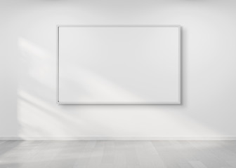 White frame hanging on a wall mockup 3d rendering