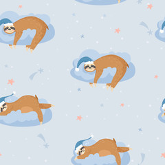 Seamless pattern with cute lazy sloths. Animals sleeping on a cloud. Vector background for textile, postcard, wrapping paper, cover, t-shirt.