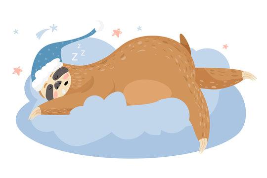 Cute cartoon sloth sleeping on a cloud. Animal wearing nightcap. Funny animal cartoon character vector Illustration.