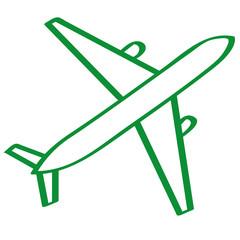 Hangezeichnetes Flugzeug in grün