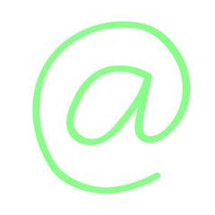 Hangezeichnetes At-Symbol in grün