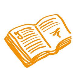 Handgezeichnetes Buch in orange