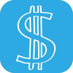 Hangezeichnetes Dollar-Symbol auf blauem Hintergrund