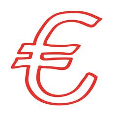 Handgezeichnetes Euro-Symbol in rot