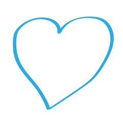 Hangezeichnetes Herz in blau