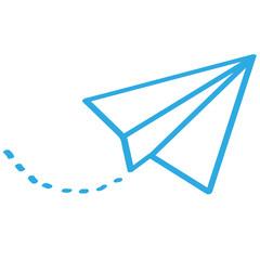 Handgezeichneter Papierflieger in blau