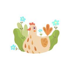 Cute Nesting Hen, Symbol of Spring Vector Illustration