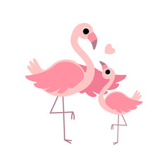 Beautiful Mother Flamingo and Its Baby, Cute Exotic Birds Family Vector Illustration