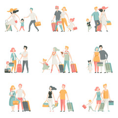 Family travel Set, Father, Mother and Kids Characters Travelling Together, Happy family Vector Illustration
