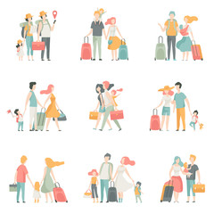 Family travel Set, Father, Mother and Kids Characters Travelling Together Vector Illustration