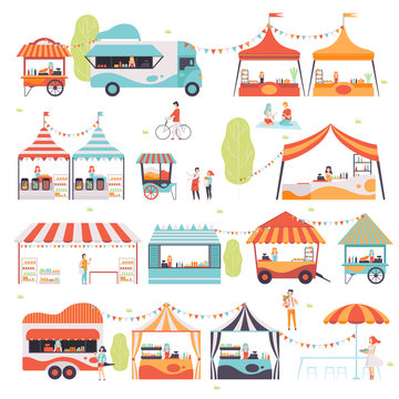 Street Food Set, Sellers Selling Food at Kiosk, Booth, Food Truck and Cart Vector Illustration