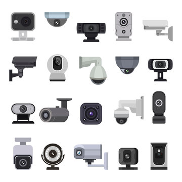 Security camera vector cctv control safety video protection technology system illustration set of privacy secure guard equipment webcam digital device isolated on white background