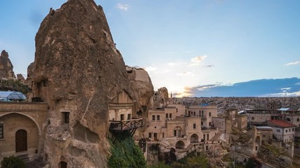 Wall Mural - Cappadocia cave with view of city skyline day to night time lapse in Goreme, Turkey