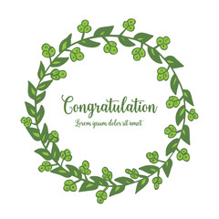Vector illustration lettering congratulation with green leaf flower frame elegant hand drawn