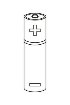 Line art black and white AA type battery
