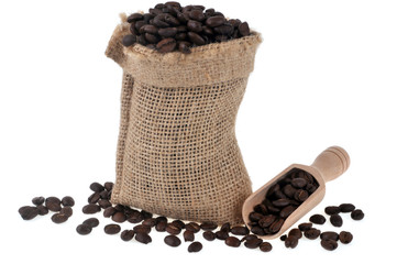 Canvas Prints Coffee beans Sac de café en grains sur fond blanc