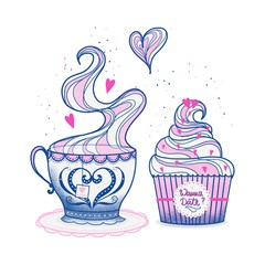 Cupcake and Tea Cup for a Date