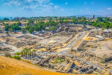 Aerial view of Beit Shean roman ruins in Israel