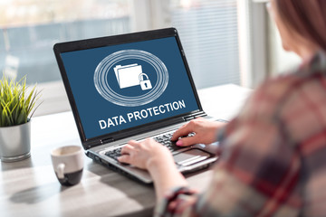 Data protection concept on a laptop screen
