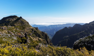 Trekking in the mountains on the island of Madeira