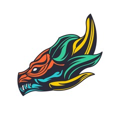 Modern dragon head logo esport