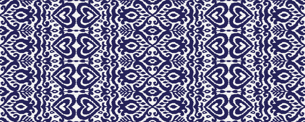 Ikat Ornament Ethnic Vector Seamless Pattern