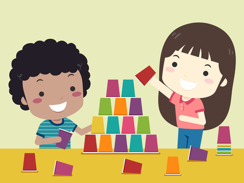 Kids Play Cup Stack Illustration
