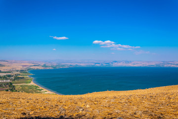 Sea of Galilee viewed from mount Arbel in Israel