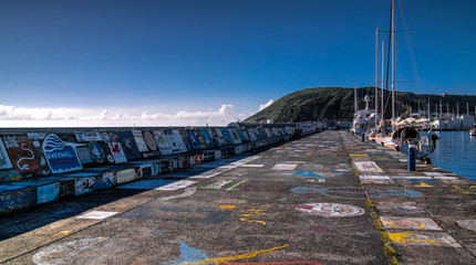 Viewe to Horta pier in harbour. Faial island, Azores, Portugal