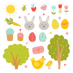 Easter vector set on white background. Cute spring holiday illustrations: eggs, rabbits, easter cakes and nature elements