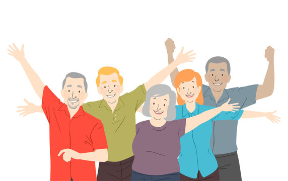 Seniors Citizen Happy Illustration
