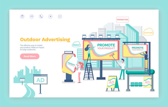 Outdoor advertising vector, website or webpage template, landing page flat style. Billboard with information , banner and boards, bus stop with ads