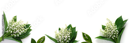 Banner, a border of lilies of the valley, isolated on a white background, top view. The concept of summer, spring, Mother's Day, March 8.