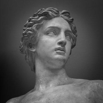 Ancient marble portrait bust. Head man statue. Antique sculpture