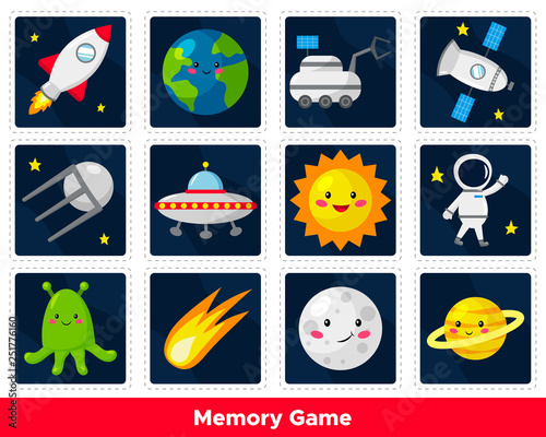 """Memory Game For Preschool Kids. Cute Cartoon Planets, Sun"