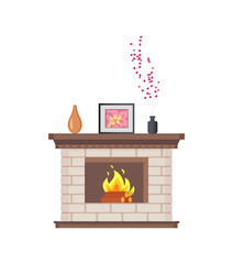 Fireplace with framed photo on wooden shelf isolated icon vector. Decoration of home, flowers and floral decor places in vase. Picture and flowers