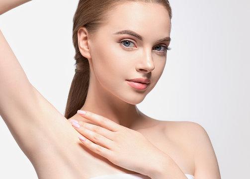 Armpit woman hand up deodorant epilation clean concept