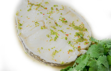 Steamed snow fish, spicy sauce