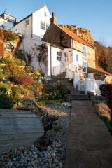 Stone Cottages at Runswick Bay, North Yorkshire Moors, England, UK