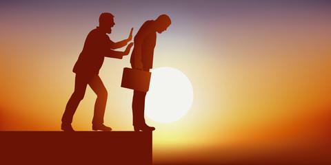 Concept de la traîtrise et de la convoitise, avec un homme qui s'apprête à pousser son concurrent dans le vide pour prendre la place de leader