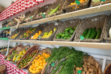 Organic fruits and vegetables at the Peasant Museum Market (Museo del Campesino) in Mozaga, Lanzarote