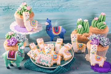 Cactus cupcakes and llama cookies