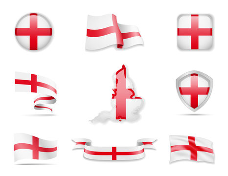 England flags collection. Flags and outline of the country vector illustration set